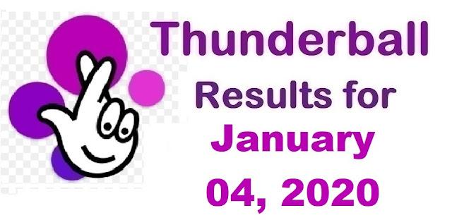 Thunderball Results for Saturday, January 04, 2020