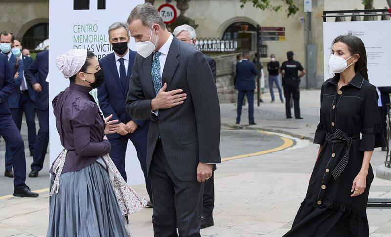 Queen Letizia wore a new black drago denim shirt dress from Leyre Doueil