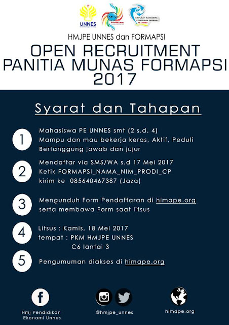 OPEN RECRUITMENT PANITIA MUNAS FORMAPSI 2017