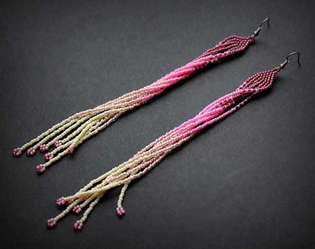 очень длинные сережки бижутерия купить украшения из бисера интернет