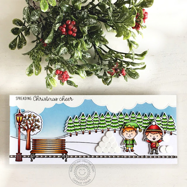 Sunny Studio Stamps: North Pole Winter Scenes Slimline Dies Spring Scenes Winter Holiday Card by Candice Fisher