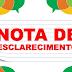 <center>NOTA DE ESCLARECIMENTO AOS NOSSOS LEITORES</CENTER>