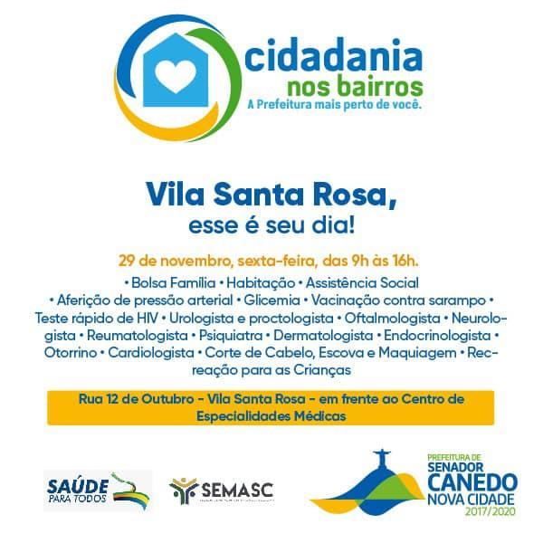 """Senador Canedo: Acontece nesta sexta a 20ª edição do """"Cidadania nos Bairros"""" desta vez na Vila Santa Rosa"""