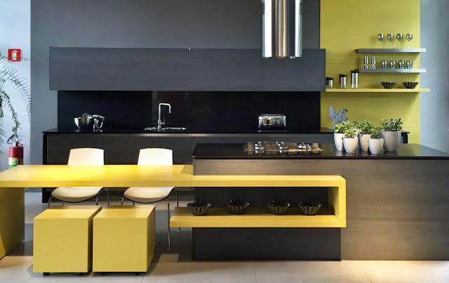 современная черно-желтая кухня
