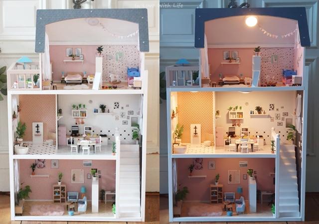 Puppenhaus renovieren DIY vorher nachher Beleuchtung