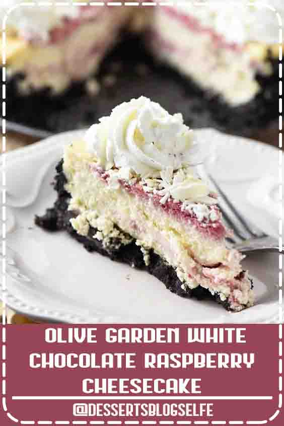 Make Olive Garden's white chocolate raspberry cheesecake at home. Who doesn't love a decadent homemade dessert with a raspberry swirl and Oreo cookie crust? #DessertsBlogSelfe #flouronmyfingers #cheesecake #OliveGarden #copycatrecipes #dessertrecipes #summerdesserts #raspberry