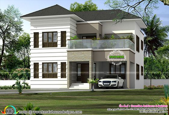 Sloping roof modern home plan