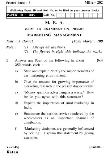 Marketing management paper