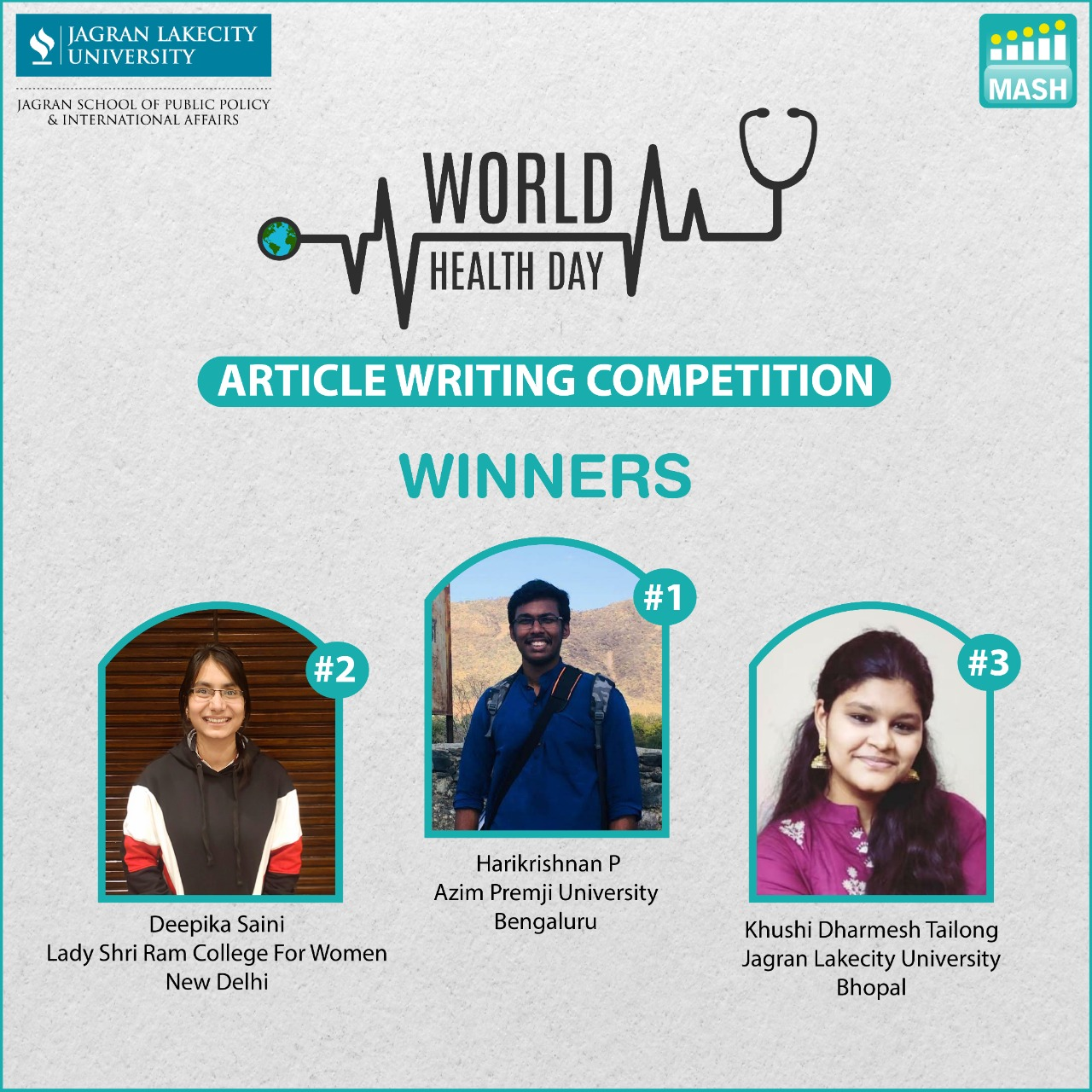 World Health Day in a pandemic; Article Writing Competition by JSPPIA, JLU Bhopal