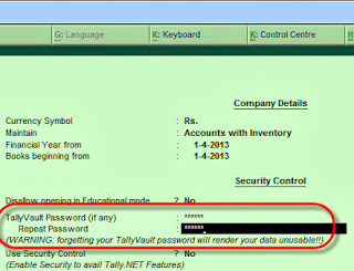 Tally ERP 9: How to Change or Remove Tally Vault Password