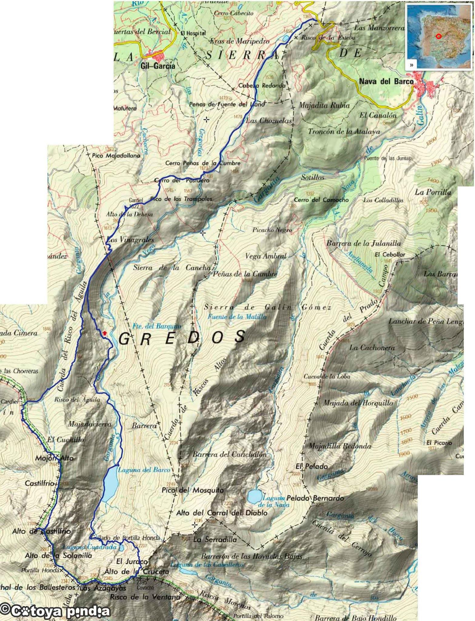 Mapa IGN de la ruta a la Laguna del Barco y Cuadrada, pasando por la Covacha y la Azagaya en la Sierra de Gredos.
