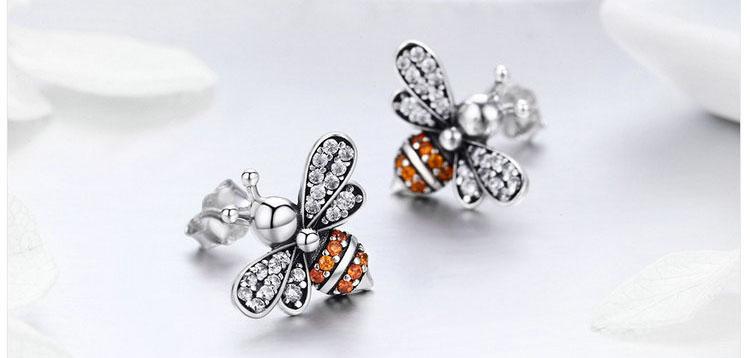 生生不息.蜜蜂 925純銀滴釉耳環