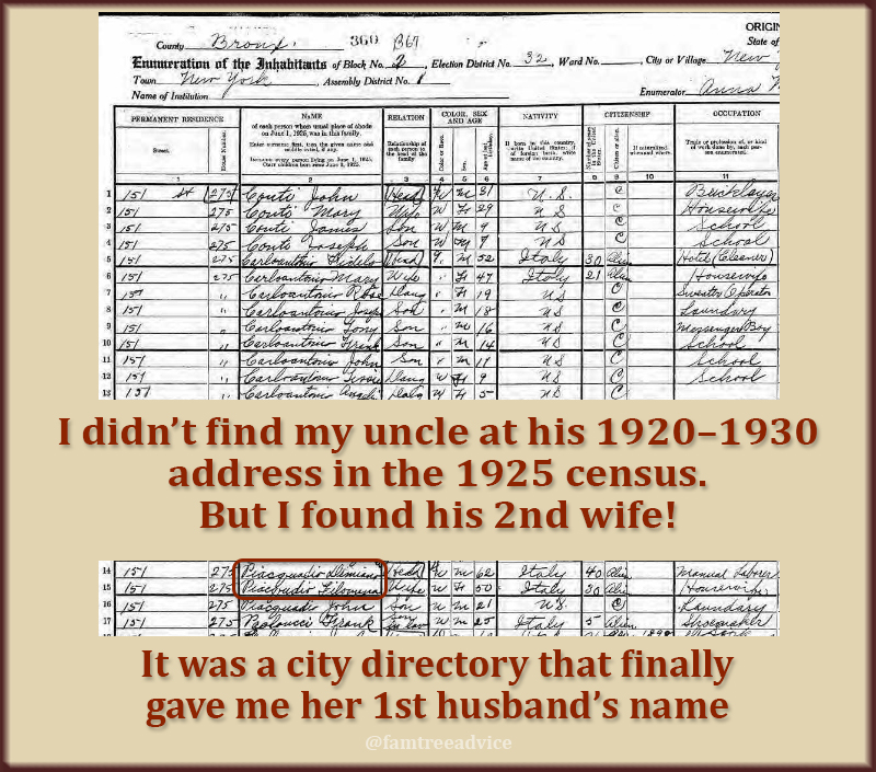 Combine tools to find your relative at an address, then page through the census.