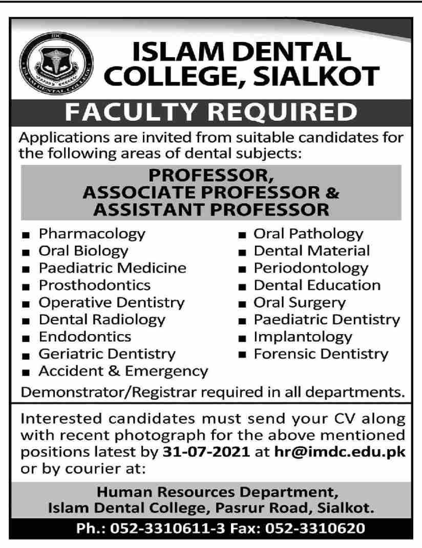imdc.edu.pk Jobs 2021 - Islam Dental CollegeJobs 2021 in Pakistan