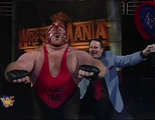WWE / WWF - WRESTLEMANIA 12 - Vader (w/ Jim Cornette) teamed with Owen Hart and British Bulldog to Face Ahmed Johnson, Yokozuna, and Jake 'The Snake' Roberts