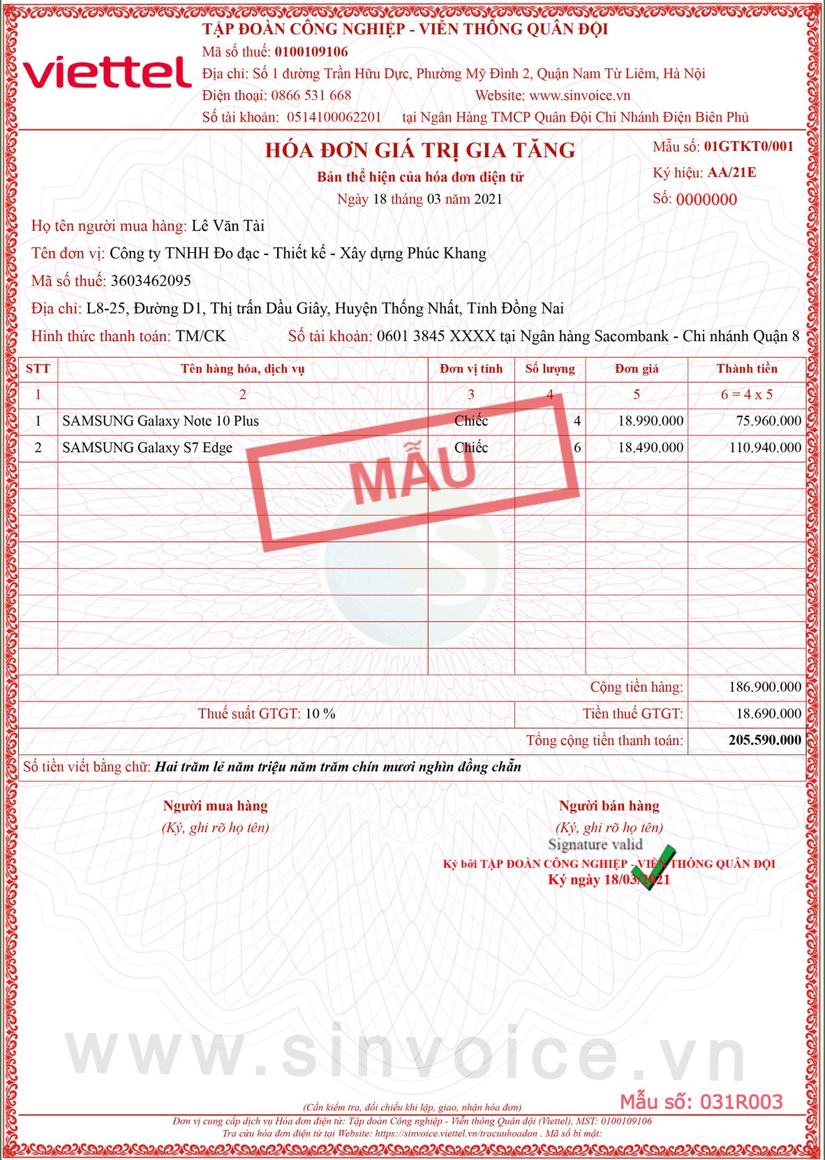 Mẫu hóa đơn điện tử số 031R003