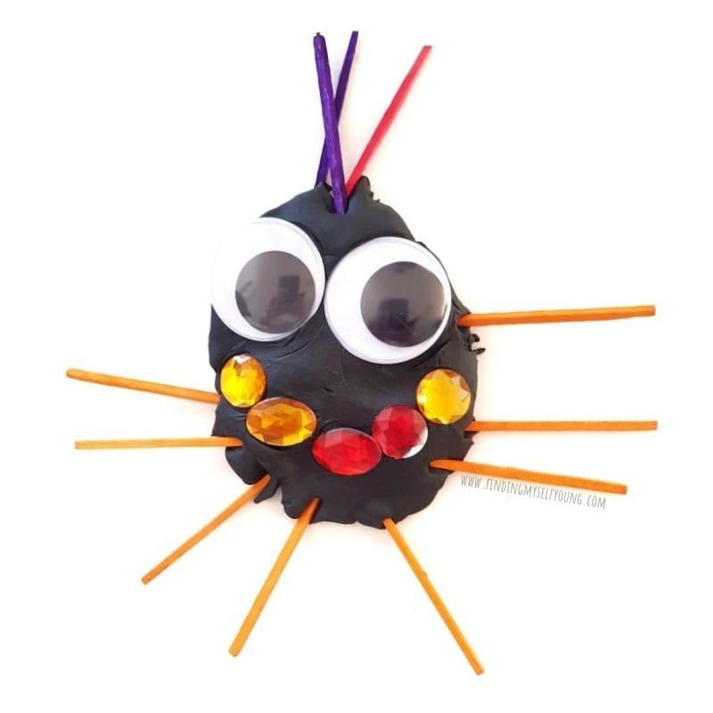 smiley face playdough spider