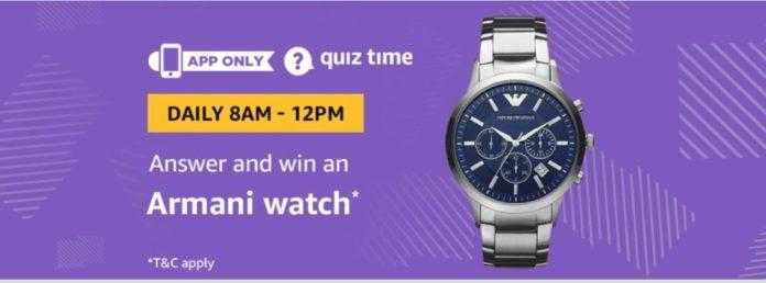Amazon 27 July 2019 Quiz – Win Free Armani Watch