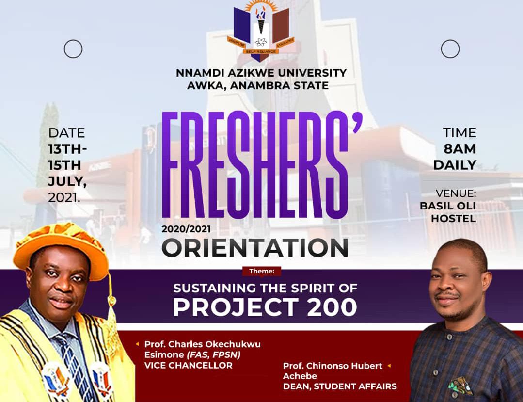 UNIZIK Orientation Programme Date 2020/2021 [Freshmen]