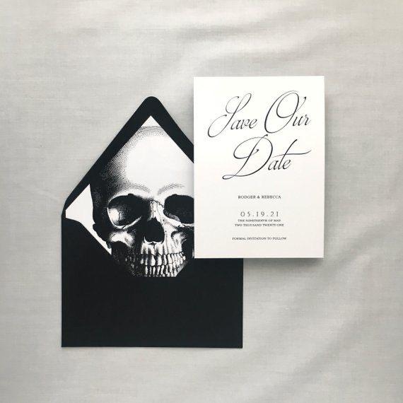 Black skull invite-wedding theme-wedding stationery-Weddings by KMich Philadelphia PA