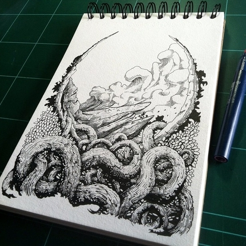 20-Tentacles-Muthahari-Insani-Beautifully-Detailed-Ink-Drawings-and-Doodles-www-designstack-co