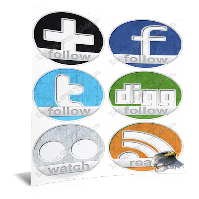 Round Grung Social Icons Set, Icons, Social Bookmarks Icons
