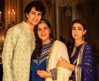 Amrita singh with her son and daughter