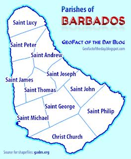 Barbados parishes map