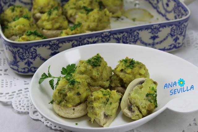 Champiñones rellenos de tortilla cocina tradicional Ana Sevilla