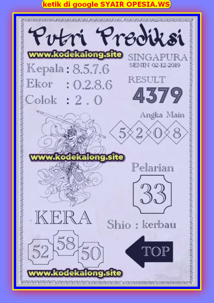 Kode syair Singapore Senin 2 Desember 2019 84