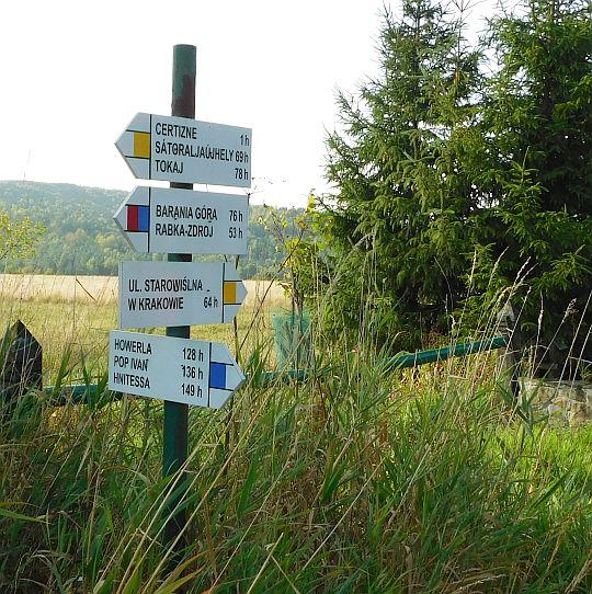 Drogowskaz szlaków na trakcie węgierskim.