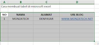 Membuat Tabel di Microsoft Excel
