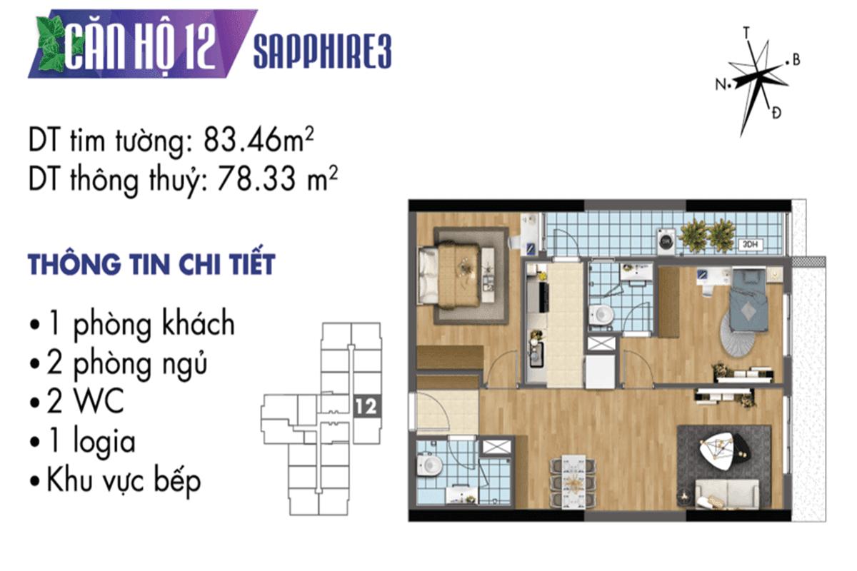 Mặt bằng căn hộ 12 tòa Sapphire3