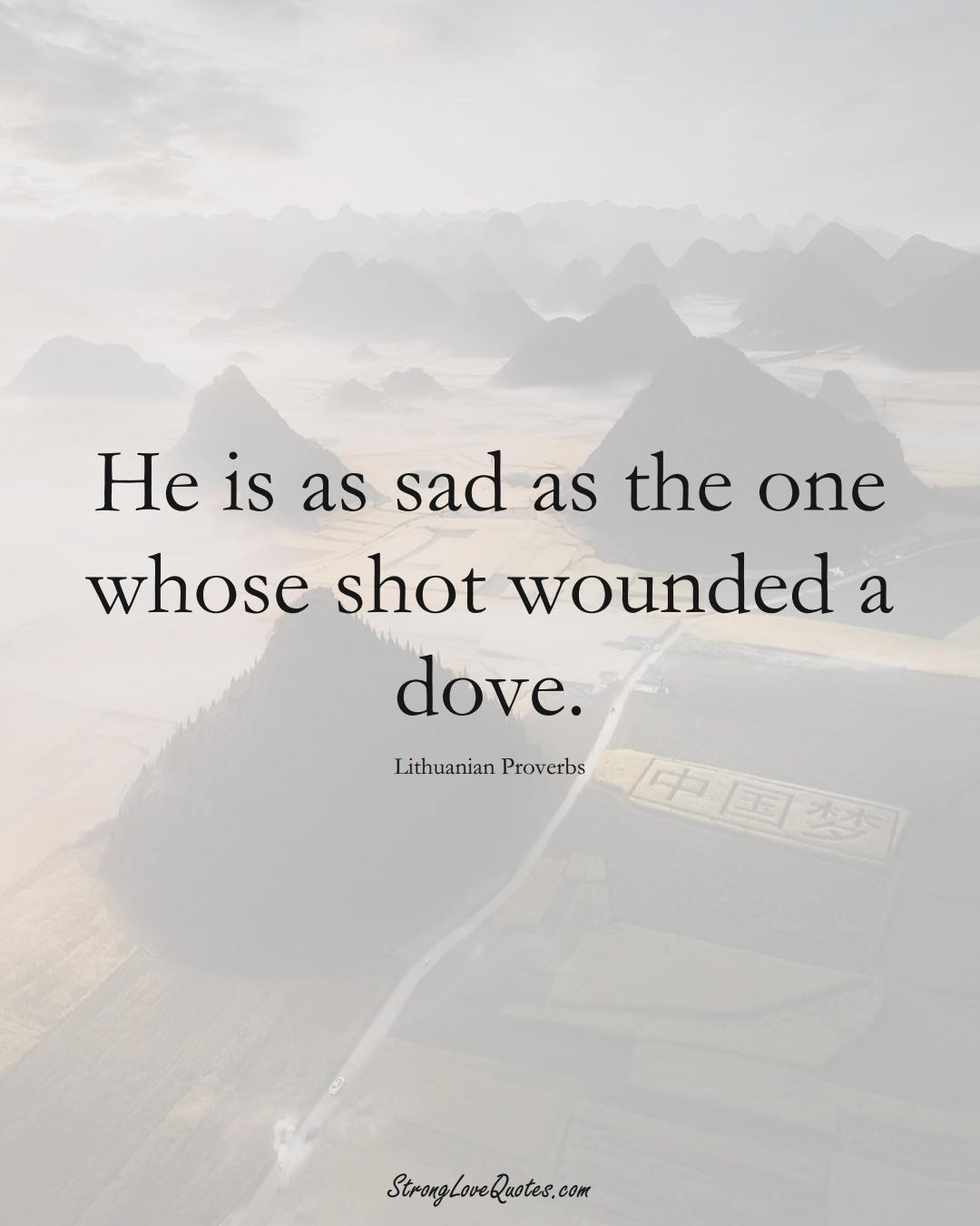 He is as sad as the one whose shot wounded a dove. (Lithuanian Sayings);  #AsianSayings