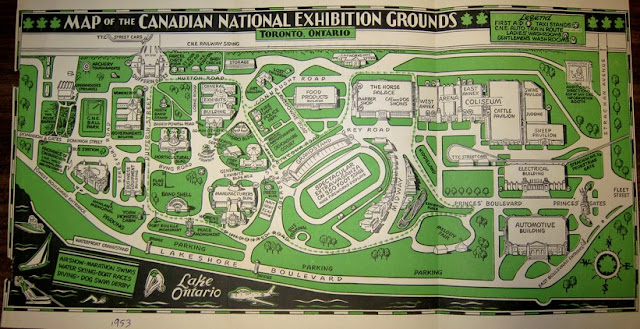 Map of the Canadian National Exhibition Grounds. 1953.