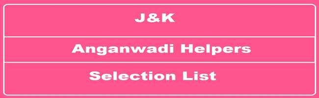 J&K I.C.D.S Selection List