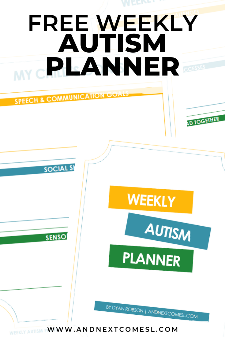 Free weekly autism planner printable for parents of autistic kids