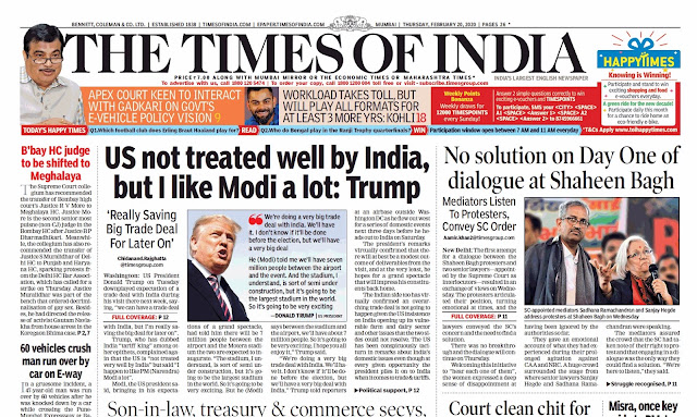 Times Of  India Epaper 20th  February 2020