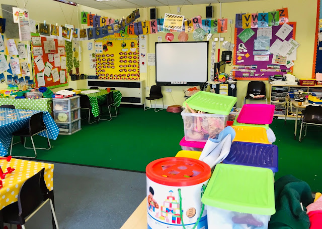 a colourful reception class room