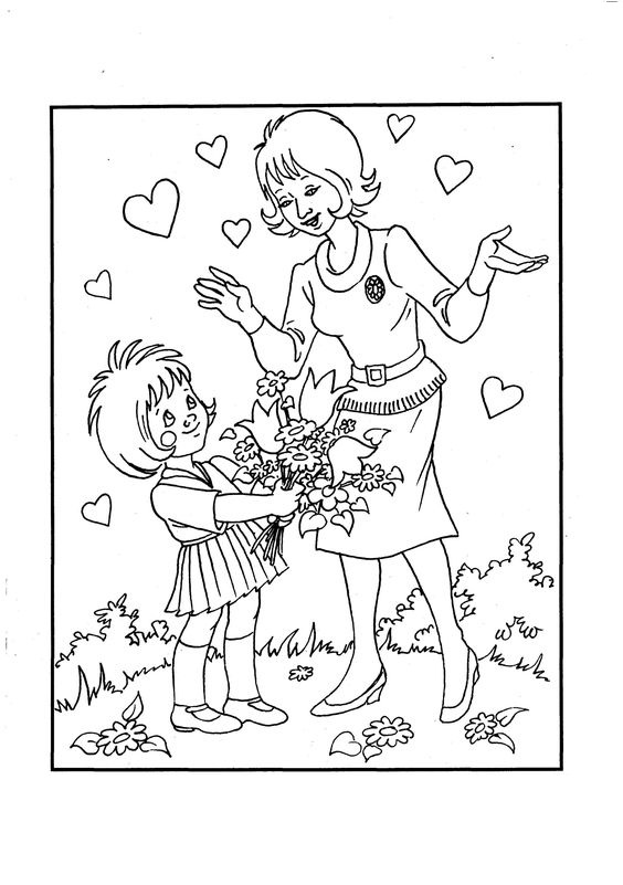 Tranh tô màu học sinh tặng hoa cô giáo