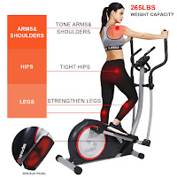 "SNODE E20i Magnetic Elliptical Machine Trainer, compact elliptical trainer for home use, with 22 lb  flywheel, cross crank, belt drive, 13.78"" stride length, 16 resistance levels, 12 programs, Bluetooth"