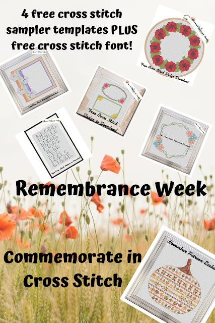 Four Free Cross Stitch Sampler Templates and a Free Cross Stitch Font Pattern to Help You Create Your Own Commemorative Cross Stitch Samplers!