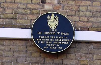 Pictured in January 2019, the plaque unveiled by The Princess of Wales of Wales in 1988 during her royal visit to Brigg