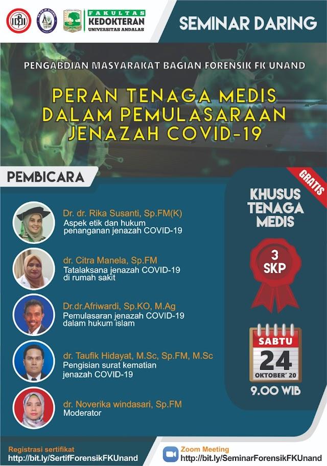 *Seminar Daring Pengabdian Masyarakat Bagian Forensik FK Unand*