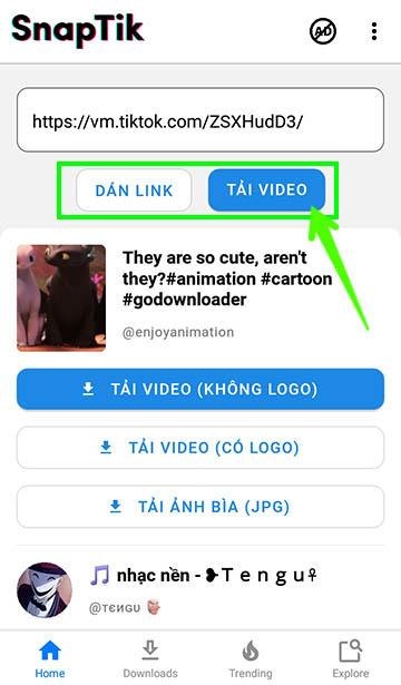 Dan-link-video-tiktok-muon-tai-vao-ung-dung-snaptik