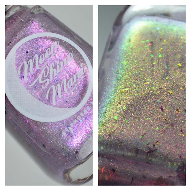 lilac color shifting shimmer nail polish in a bottle