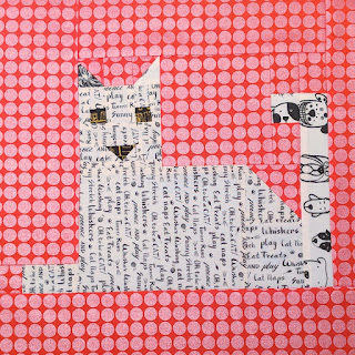 patchwork cat block quilting