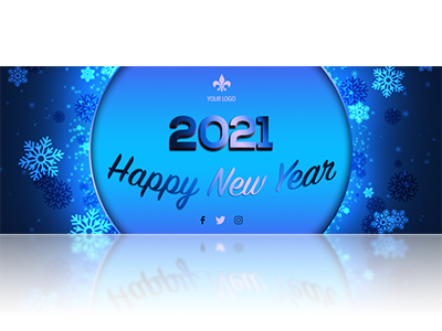 Blue new year snowflakes facebook cover psd