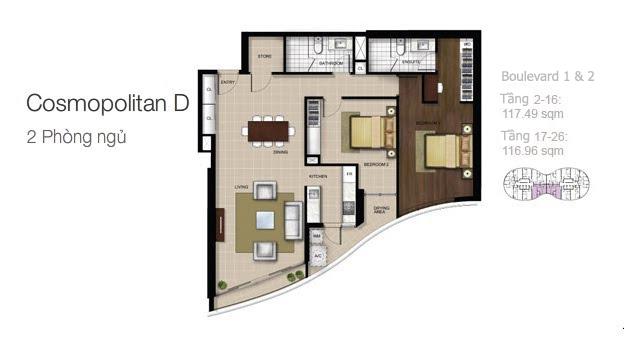 Mặt bằng căn hộ City Garden: Cosmopolitan D 2 phòng ngủ