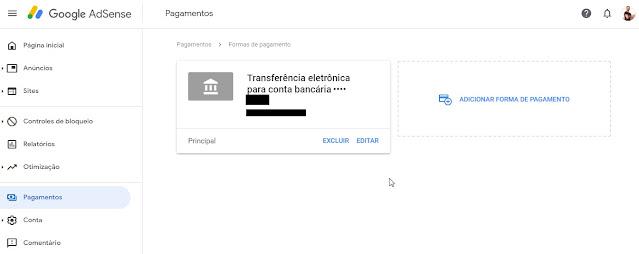 Pagamentos AdSense - inserir conta para transferência/Recebimento Banco Inter
